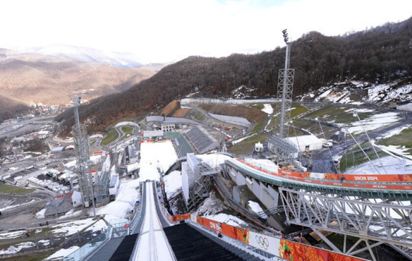 A view from the normal hill of the RusSki Gorki Ski Jumping Center in Sochi, Russia. The venue's construction costs were six times higher than originally estimated.