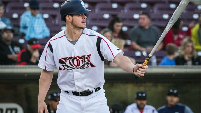 Padres outfielder Wil Myers served as the designated hitter on Tuesday, April 17, 2018, on a rehab assignment with high Single-A Lake Elsinore.