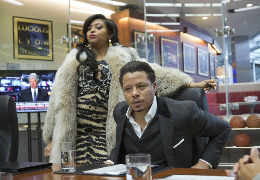 """Cookie Lyon (Taraji P. Henson, left) visits Lucious Lyon (Terrence Howard) to claim her share of the company in the premiere episode of """"Empire."""""""