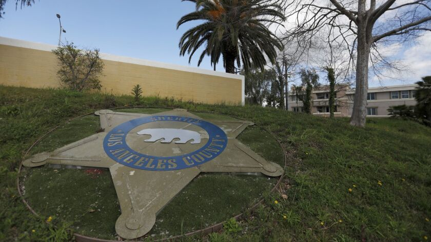 EAST LOS ANGELES, CA MARCH 7, 2019: Entrance to the parking area of the East Los Angeles Sheriff's