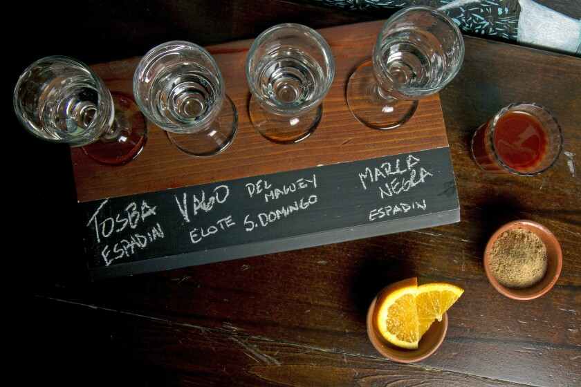 Flights of mezcal at Las Perlas in downtown Los Angeles.