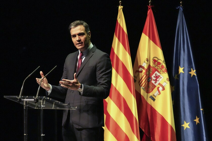 Spain's prime minister Pedro Sanchez delivers a speech at the Gran Teatre del Liceu in Barcelona, Spain, Monday, June 21, 2021. Sanchez's said Monday that the Spanish Cabinet will approve pardons for nine separatist Catalan politicians and activists imprisoned for their roles in the 2017 push to break away from Spain. (AP Photo/Emilio Morenatti)