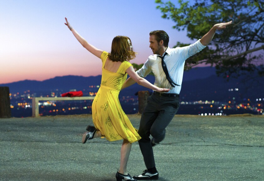 """Ryan Gosling and Emma Stone in a scene from """"La La Land."""" The film scored 12 nominations for Critics' Choice Awards."""