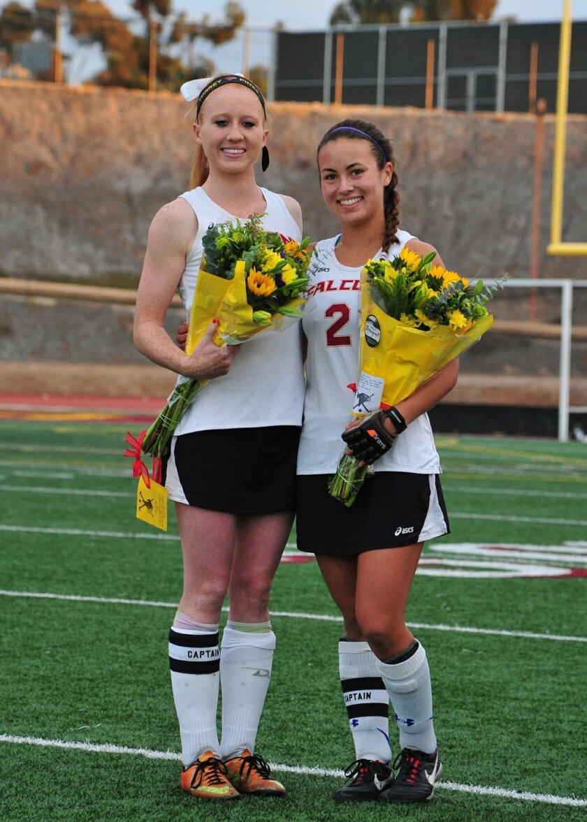 Falcon seniors Alayna Tomlinson (left) and Clare Young.