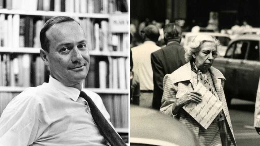 """Ross Macdonald, left, in Alfred Knopf's New York City office in 1965 and Eudora Welty, right, walking in New York in 1986, are the subjects of the new book """"Meanwhile There are Letters."""""""