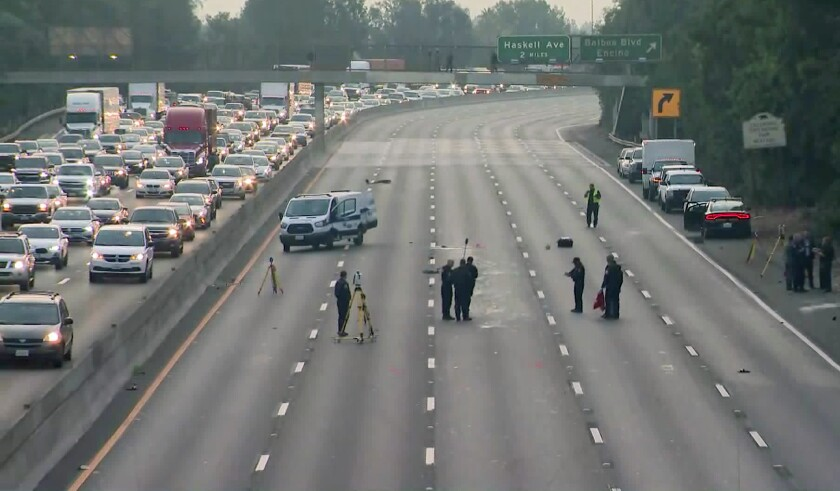 Fatal accident on eastbound lanes of the 101 Freeway in Encino