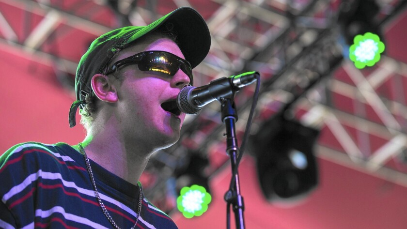 DMA's vocalist Tommy O'Dell performs in the Gobi tent at the Coachella Valley Music and Arts Festival in Indio, Calif.
