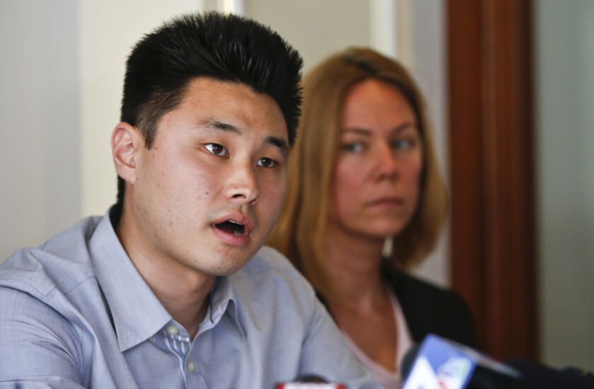 Student Daniel Chong talks about his ordeal while in the custody of the Drug Enforcement Administration, when he was forgotten and left without food and water for five days, at a news conference Thursday in San Diego.