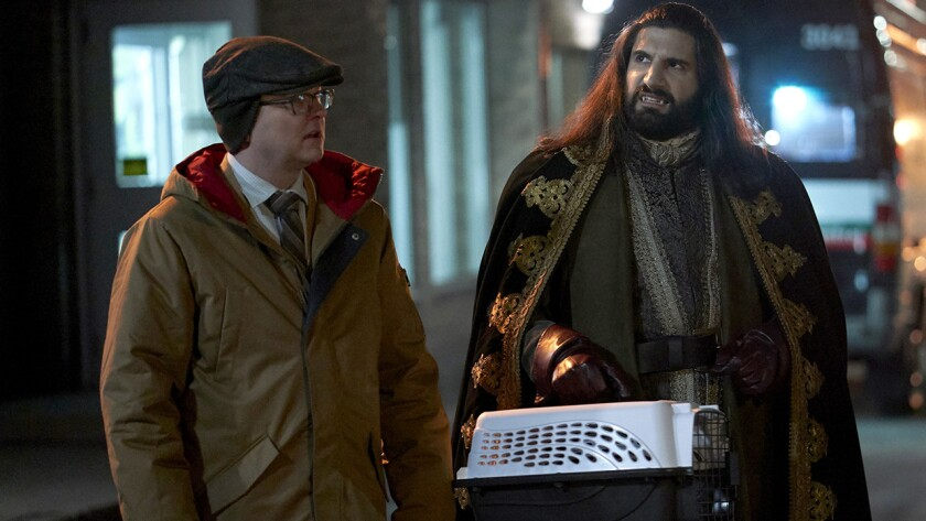 "Mark Proksch, left, Kayvan Novak and Harvey Guillen in ""What We Do in the Shadows"" on FX."