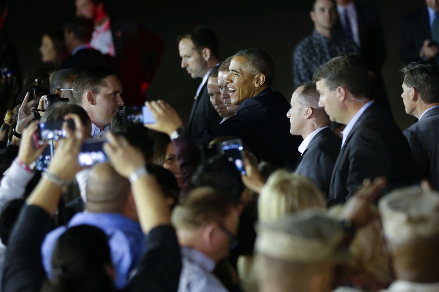Flying in on Air Force One, President Barack Obama arrived at Marine Corps Air Station, Miramar Sunday evening. After landing President Barack Obama met briefly with supporters who came out Sunday evening.