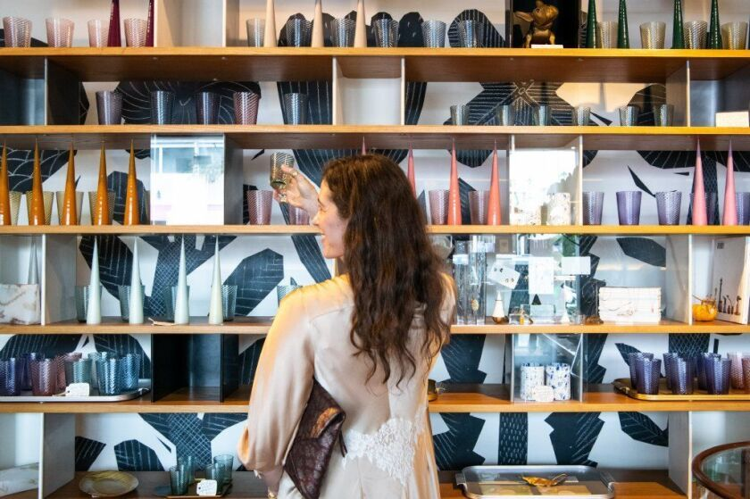 Liseanne Frankfurt shops at Chariots On Fire in Venice for tabletop decor for an outdoor Sunday lunch.