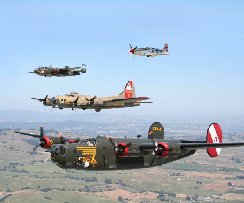 A three plane formation of P-51 fighter planes. WWII planes will be coming to Carlsbad April 24.