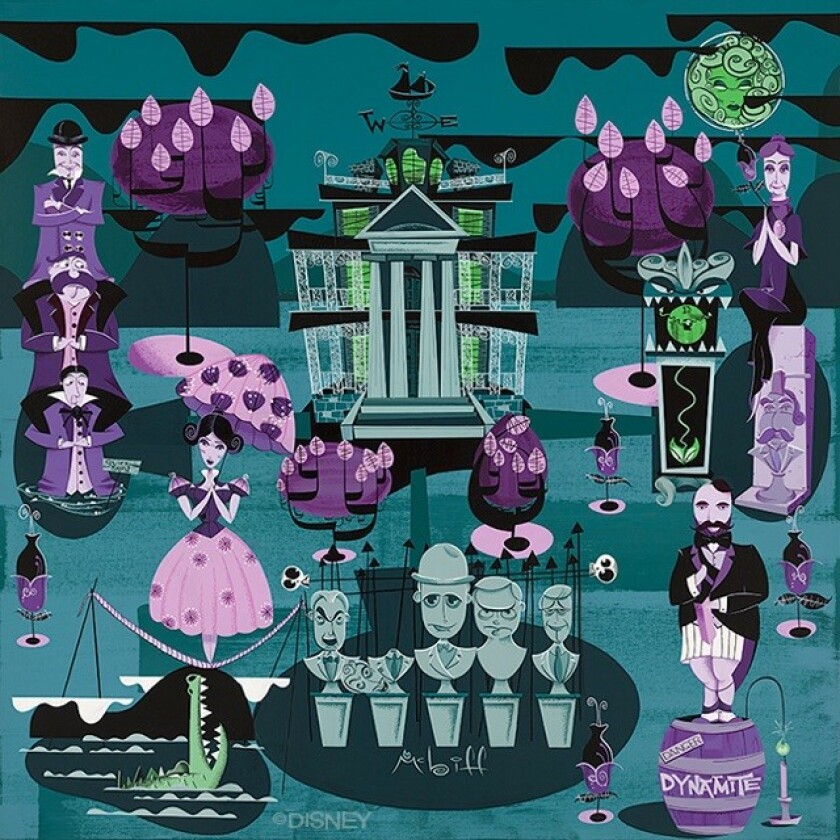 """Huntington Beach artist Mcbiff created this poster for Disney, """"1313 Grim Harbor,"""" honoring the 50th anniversary of Disneyland's Haunted Mansion ride."""
