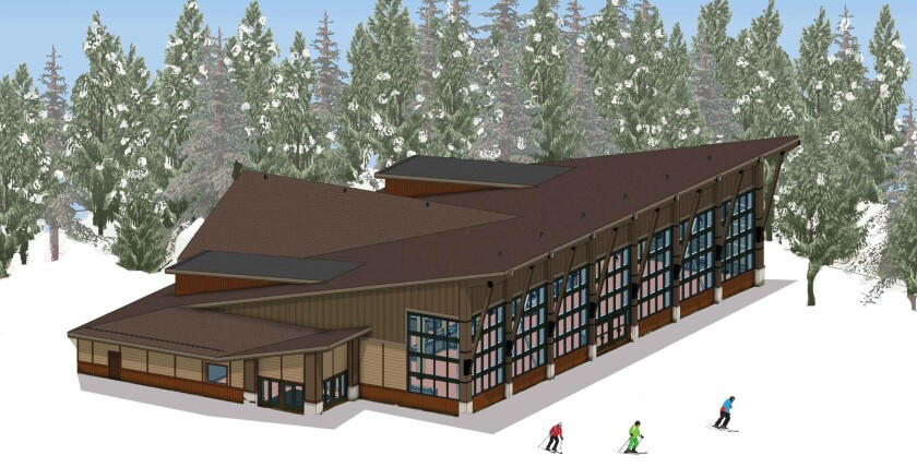 """Rendering of Pioneer Crossing restaurant at Breckenridge Ski Resort. There will be a Mediterranean Station, salad bar and """"upscale campfire food"""" in a unique setting on top of Peak 7 with views of Summit County."""