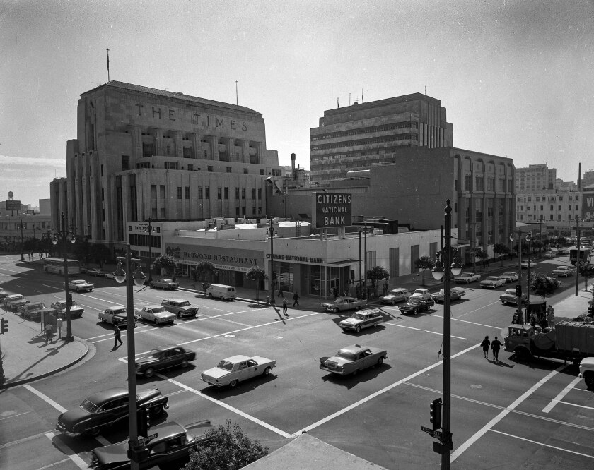 First and Broadway intersection in Los Angeles