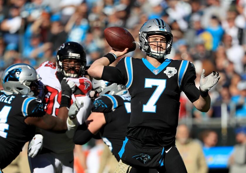 Atlanta Falcons vs.Carolina Panthers: Panthers quarterback Kyle Allen drops back to pass