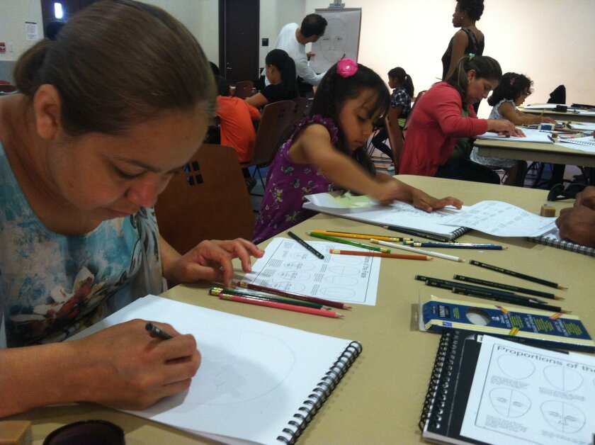 Emy Perez, left, and her daughter, Enya, 5, draw their self-portraits. They came to the New Children's Museum's drawing and photo portrait workshop, an event that was part of its Mass Creativity community art series.