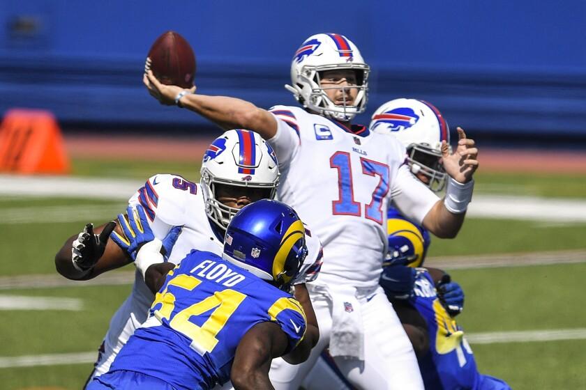 Buffalo Bills quarterback Josh Allen throws a pass during the first quarter.