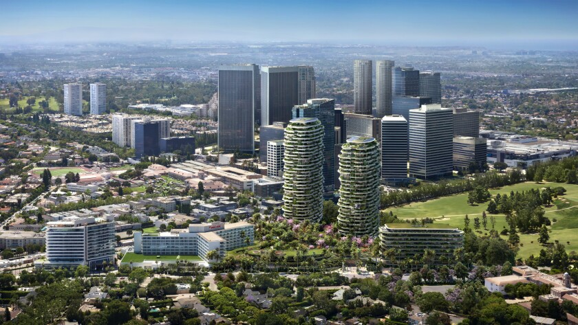 This artist rendering mimics an aerial view of the Beverly Hills area with high rise buildings in the center.