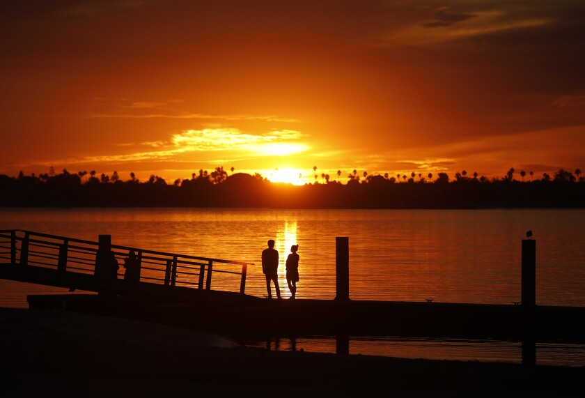 People watch the sunset on a dock on Mission Bay on Nov. 18, 2019.