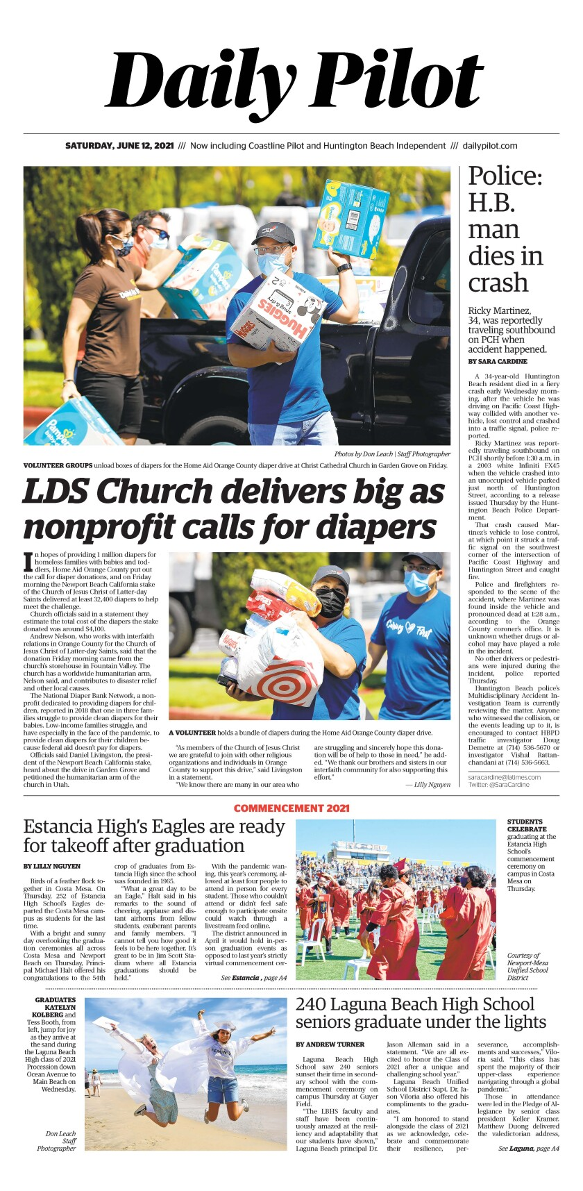 Front page of Daily Pilot e-newspaper for Saturday. June 13, 2021.