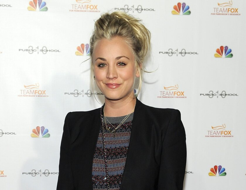 """FILE - This Dec. 5, 2012 file photo shows actress Kaley Cuoco at the Raising the Bar to End Parkinsons fundraising event at Public School 310 in Culver City, Calif. """"The Big Bang Theory"""" star, Cuoco, is starting 2014 off as a Mrs. The 28-year-old actress wed 26-year-old tennis pro, Ryan Sweeting, i"""