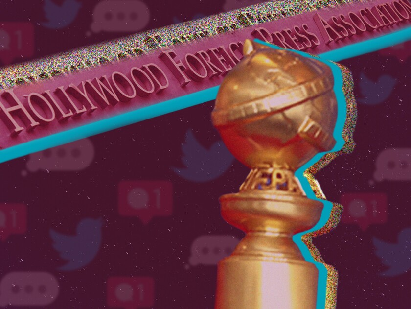 A Golden Globe award in front of the Hollywood Foreign Press Association sign.