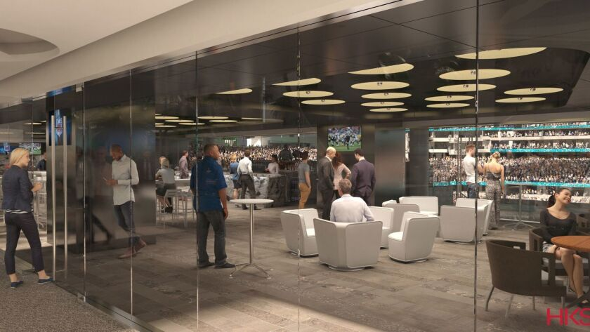 An artist's rendering of a club suite at the new Inglewood stadium.
