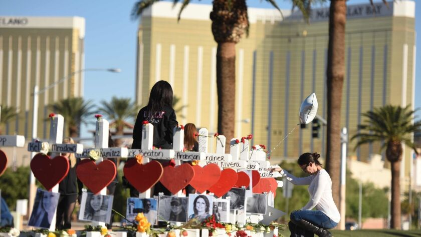 Crosses for the victims of the Las Vegas mass shooting stand just south of the Mandalay Bay hotel in Las Vegas.