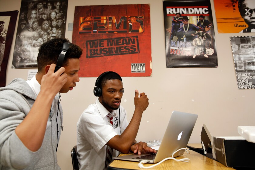 View Park Preparatory Charter High School students in a music production class