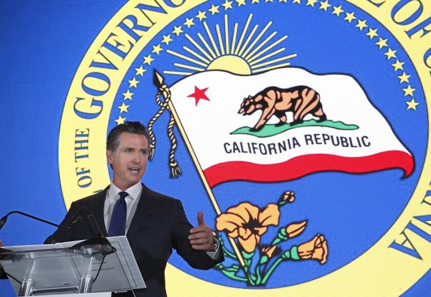 Gov. Gavin Newsom speaks to the California Chamber of Commerce in Sacramento on May 23.