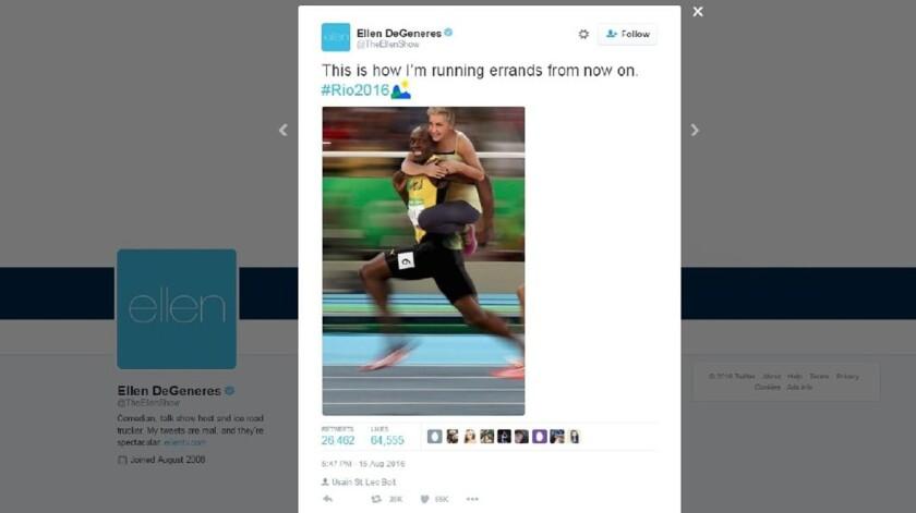 La polémica imagen que Ellen DeGeneres compartió en Twitter.