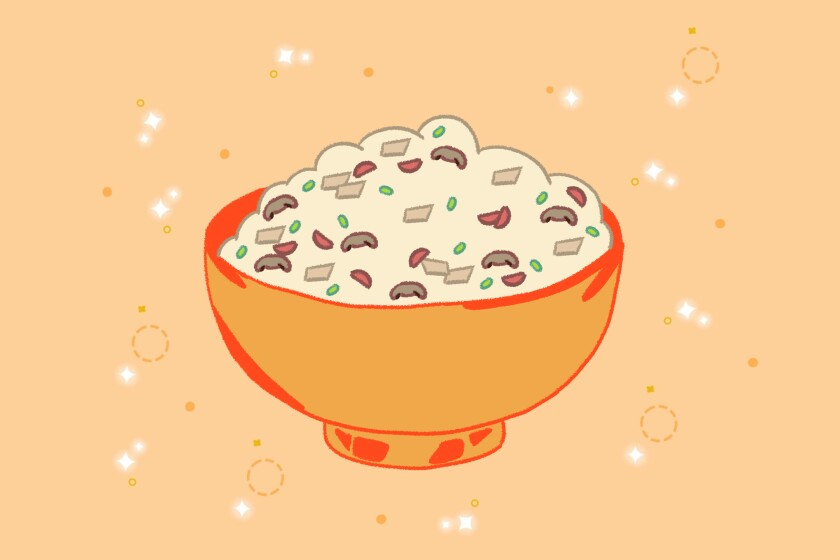 Illustration of turkey fried rice in a bowl.