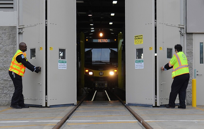 The Metropolitian Transit Authority unveil the new Kinkisharyo rail car at Metro Division 22 in Lawndale.