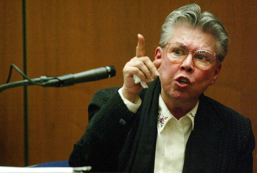 Sante Kimes testifies during her murder trial in Los Angeles County Superior Court in 2004.