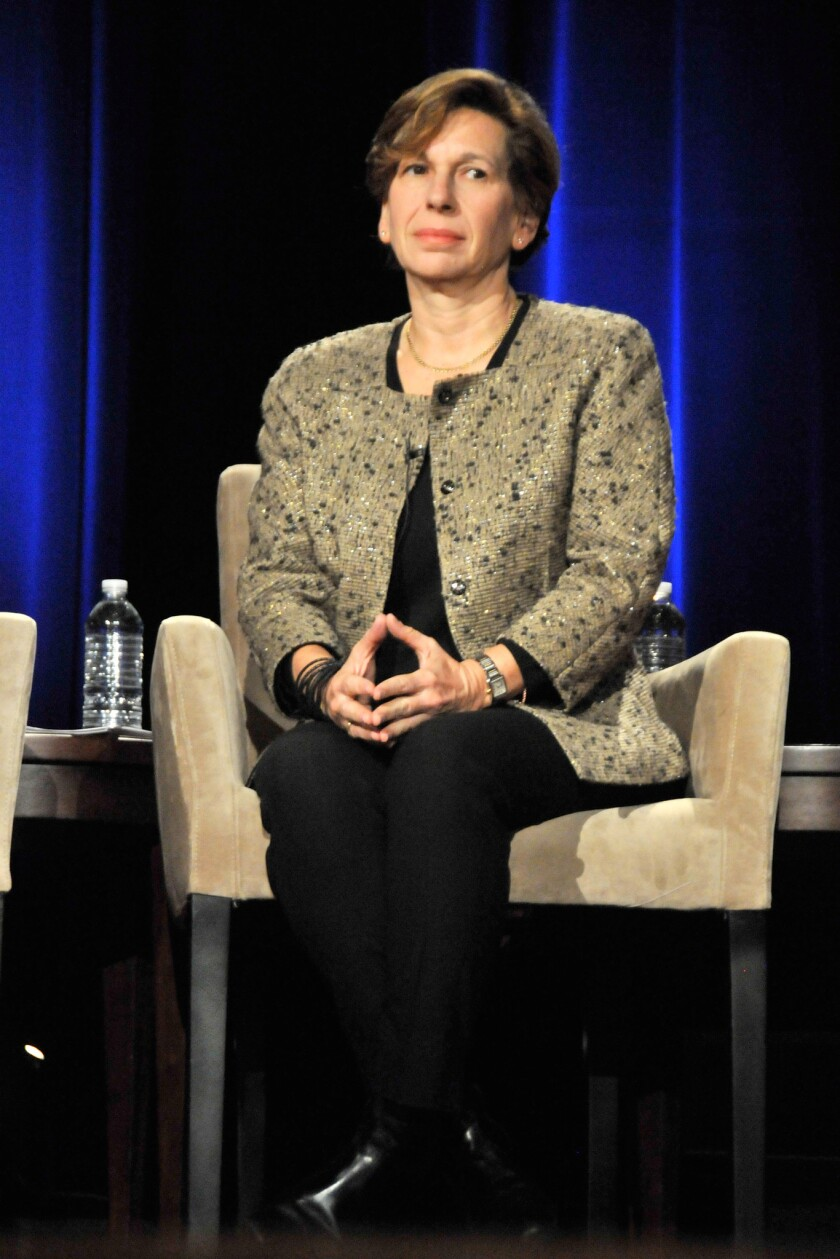 Randi Weingarten, head of the American Federation of Teachers, has favored the limited and responsible inclusion of test scores in teacher evaluations. Weingarten is seen above at a panel discussion at the NYU Skirball Center in 2012.