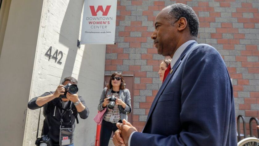 U.S. Department of Housing and Urban Development Secretary Ben Carson visits the Downtown Women's Center in Los Angeles in April.
