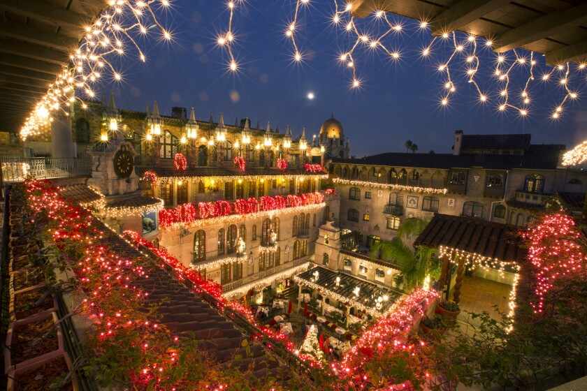A view into the hotel courtyard during the Festival of Lights on the grounds of the Mission Inn Hotel & Spa in Riverside.