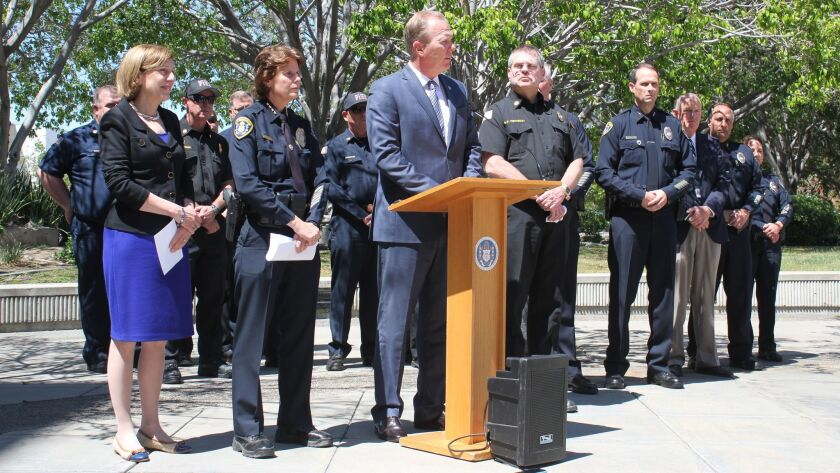 San Diego Mayor Kevin Faulconer addresses the press during an update on the University City shooting