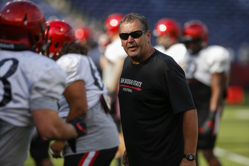 San Diego State football coach Brady Hoke leads the Aztecs into a 2020 season that has been abbreviated to eight games.
