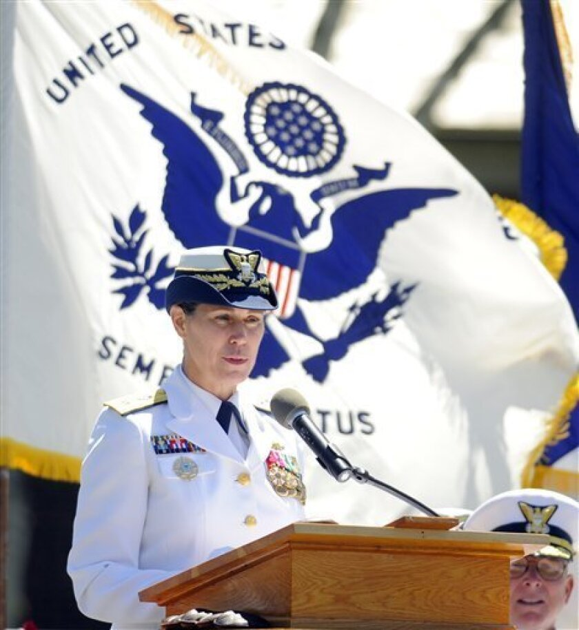 U.S. Coast Guard Rear Adm Sandra Stosz speaks after assuming command of the Coast Guard Academy from Rear Adm J. Scott Burhoe in a change of command ceremony Friday, June 3, 2011 on the academy's Washington Parade Field in New London, Conn. Stosz is the 40th superintendent and first woman to lead the academy. (AP Photo/The Day, Sean D. Elliot)