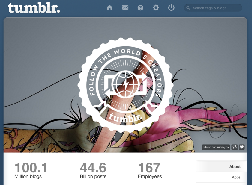 """Tumblr's """"About"""" page shows that more than 100 million blogs now exist on the popular social network."""