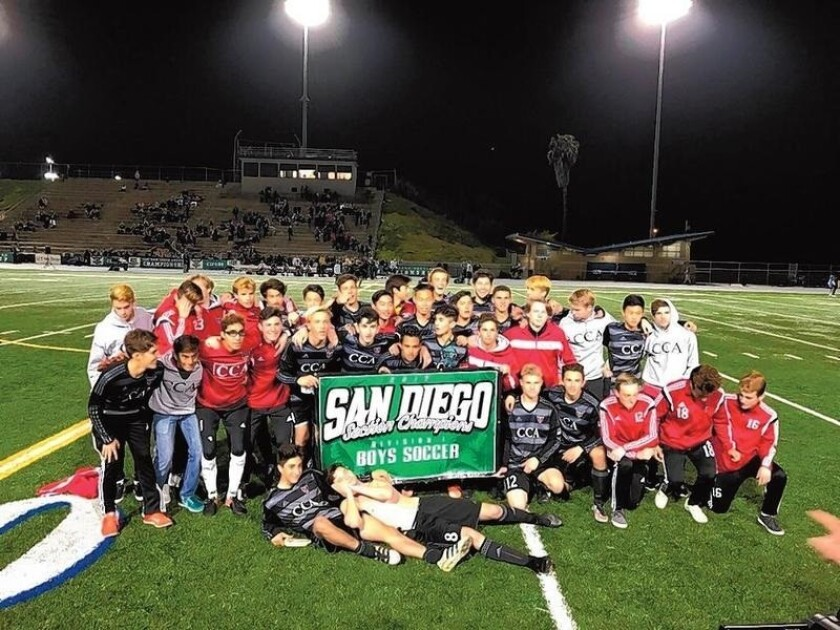 The CCA boys soccer team recently won the San Diego Section Division I boys soccer championship at Mesa College.