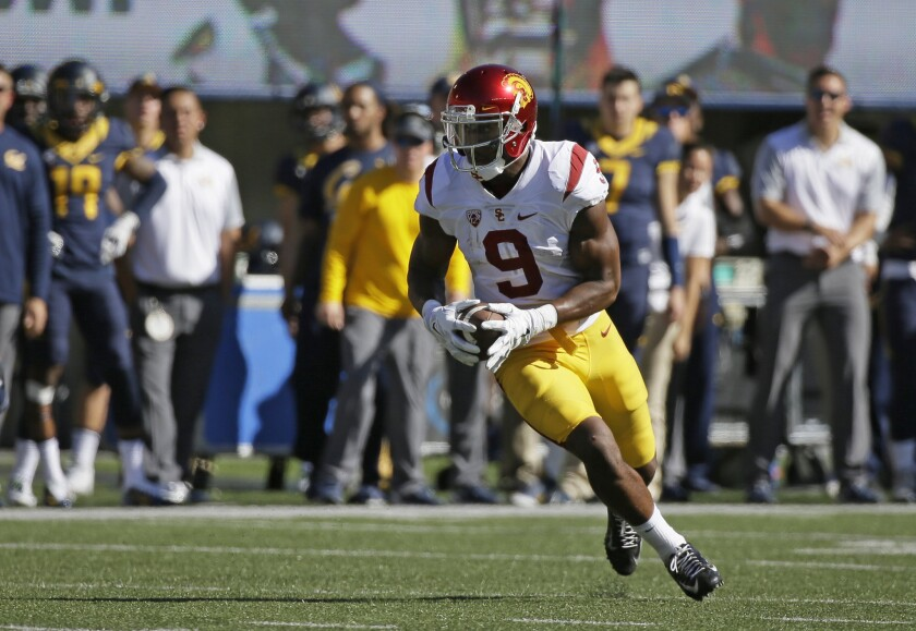 USC wide receiver JuJu Smith-Schuster runs with the ball during the first half at California.