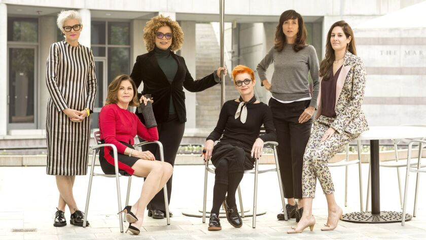 """Costume designers Caroline Eselin (""""If Beale Street Could Talk""""), from left, Colleen Atwood (""""Fantastic Beasts""""), Ruth Carter (""""Black Panther""""), Sandy Powell (""""Mary Poppins Returns""""/""""The Favourite""""), Mary Zophres (""""First Man"""") and Erin Benach (""""A Star Is Born"""")."""
