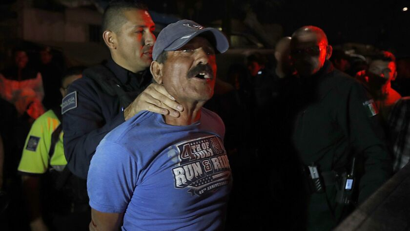 TIJUANA, MEXICO. - NOV. 16, 2018. Tijuana police arrest a Mexican man accused of starting a fight w