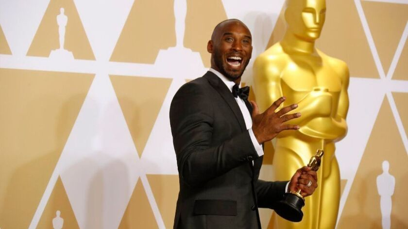 """Kobe Bryant in the press room of the Academy Awards after winning an Oscar for his animated short """"Dear Basketball""""  on March 4, 2018."""