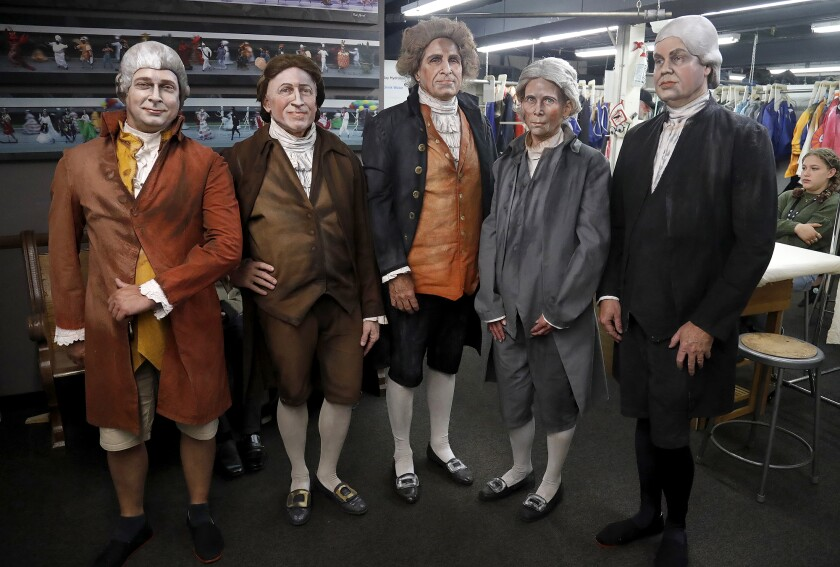 """Cast members who play in the """"Declaration of Independence"""" tableaux vivant wait before they take the stage."""