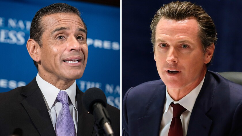 A diptych showing former Los Angeles Mayor Antonio Villaraigosa, left, speaking during a luncheon at