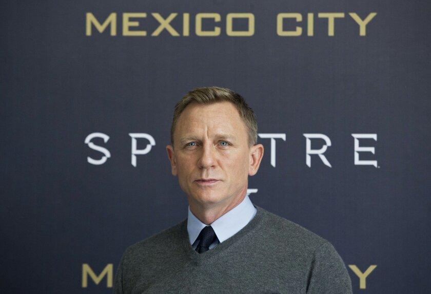 Daniel Craig, poses for photographers during the photo call for the latest Bond film, Spectre, at Regis hotel in Mexico City, Sunday, Nov. 1, 2015. (AP Photo/Esteban Felix)